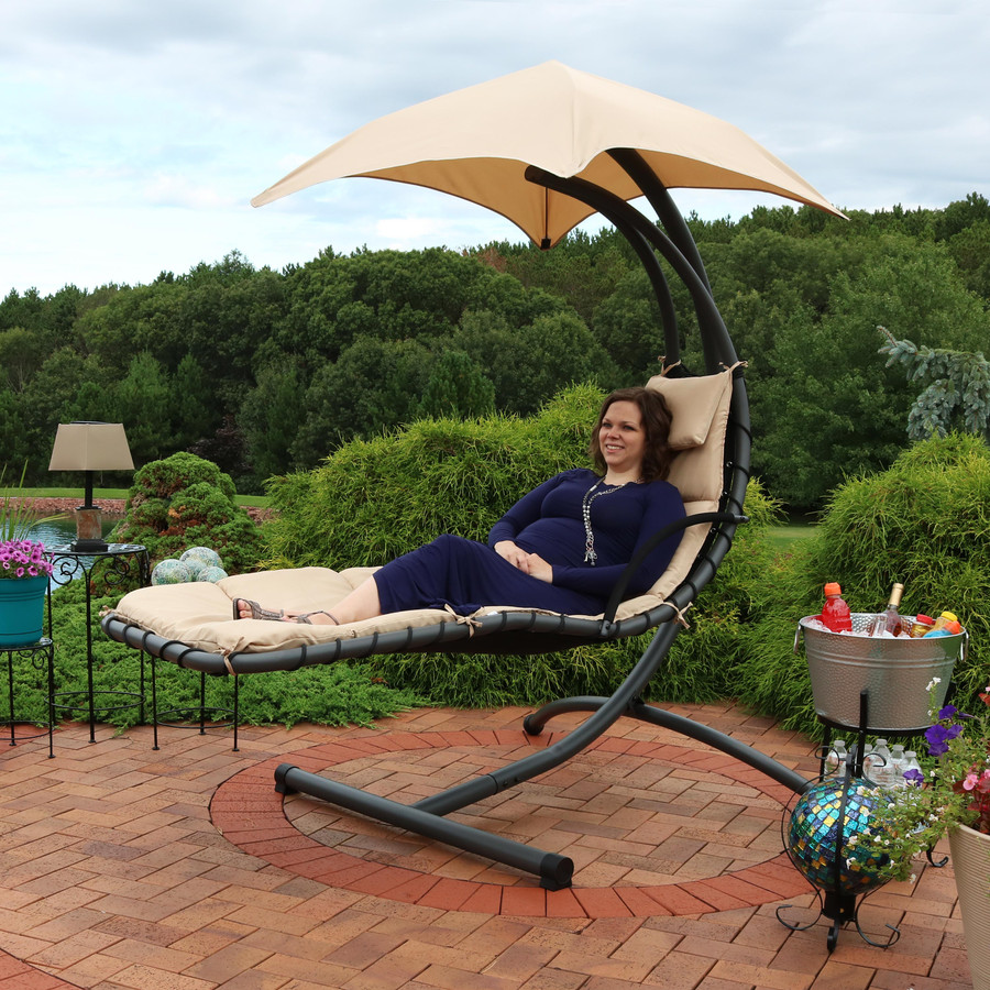 Beige Floating Chaise Lounge Chair