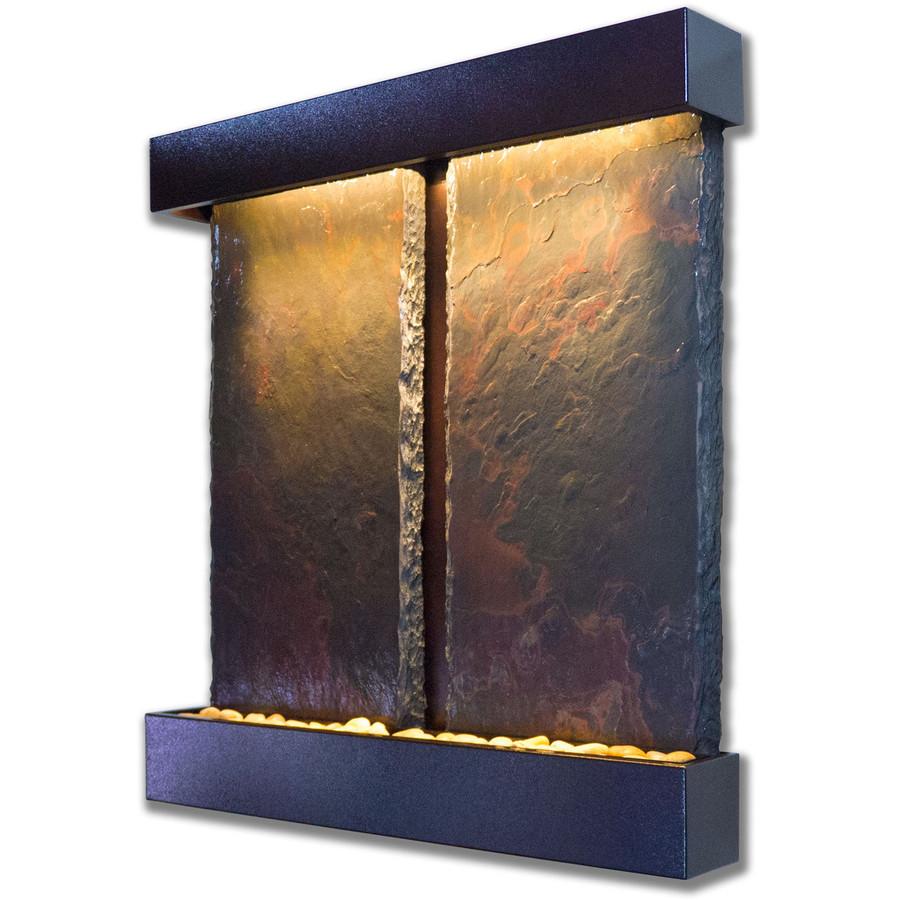 Bluworld Duet Falls Vertical Wall Fountain with Copper Vein Frame