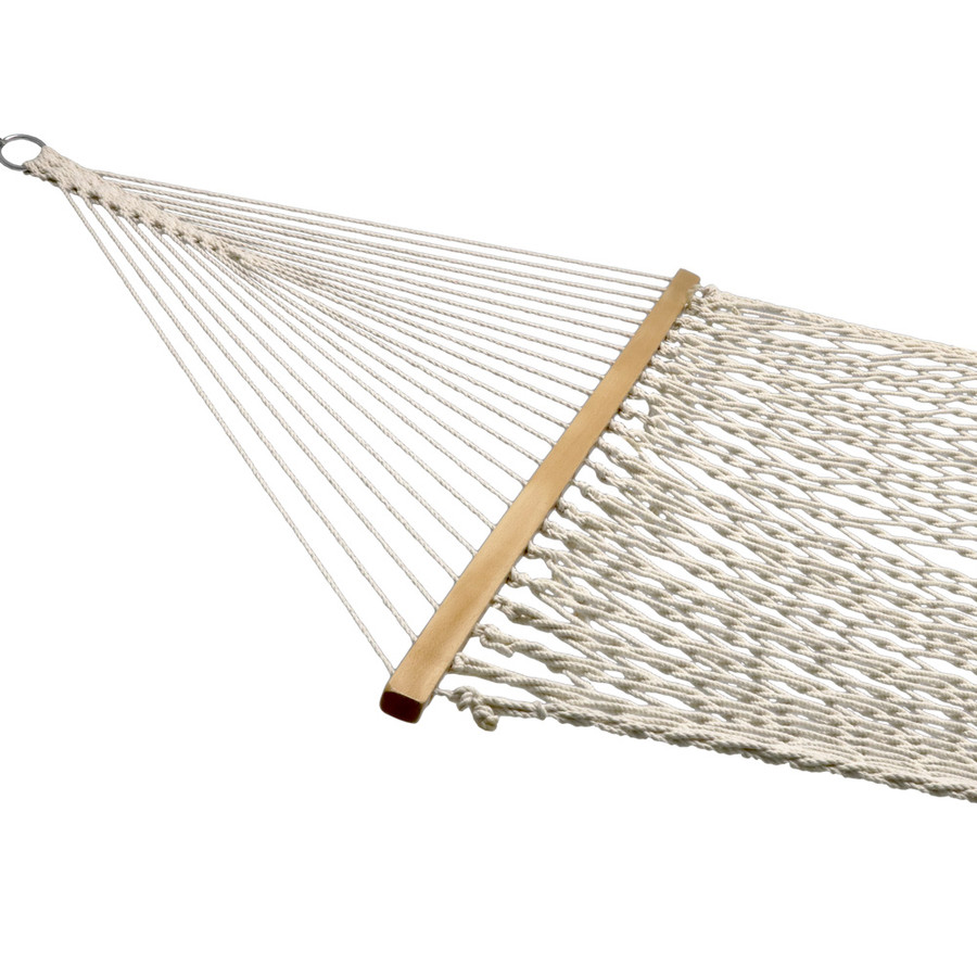 Sunnydaze Double Wide 2 Person Cotton Spreader Bar Rope Hammock, 2 Person, 450 Pound Capacity
