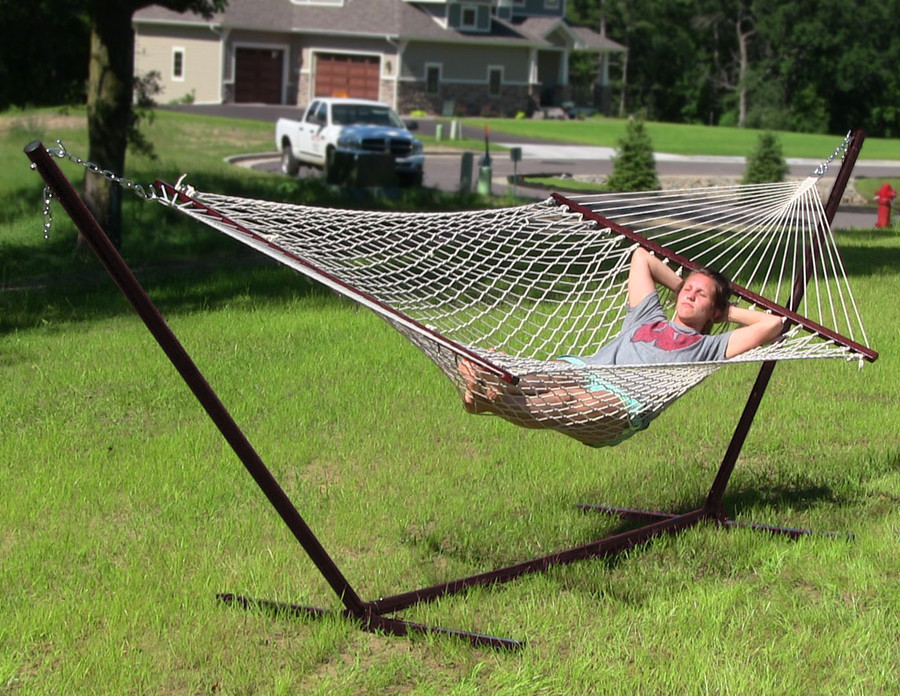 Sunnydaze Double Wide 2 Person Cotton Rope Hammock with Spreader Bars and 15 Foot Stand, 2 Person