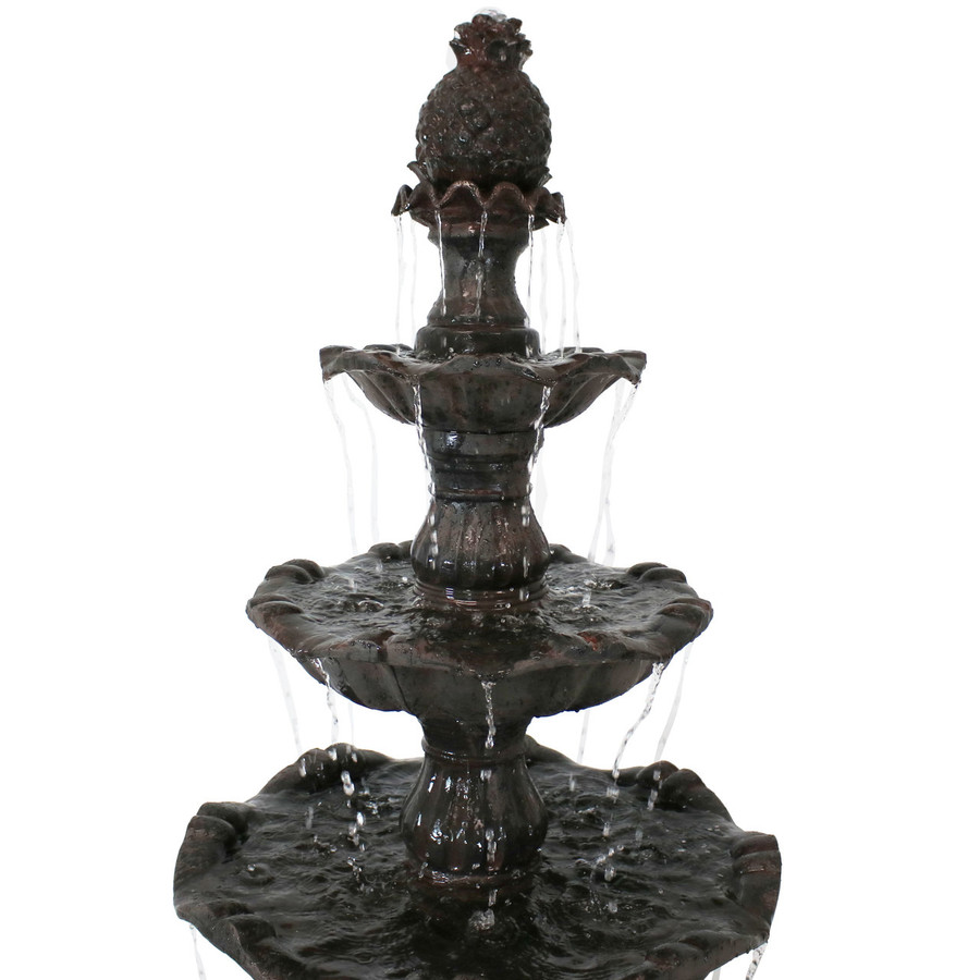 Sunnydaze 4-Tier Grand Courtyard Outdoor Water Fountain, Dark Chestnut, with Electric Pump, 80 Inch Tall