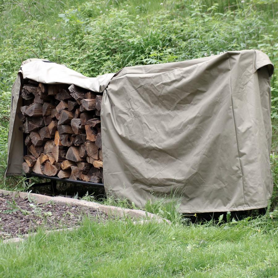 Khaki Firewood Log Rack Cover