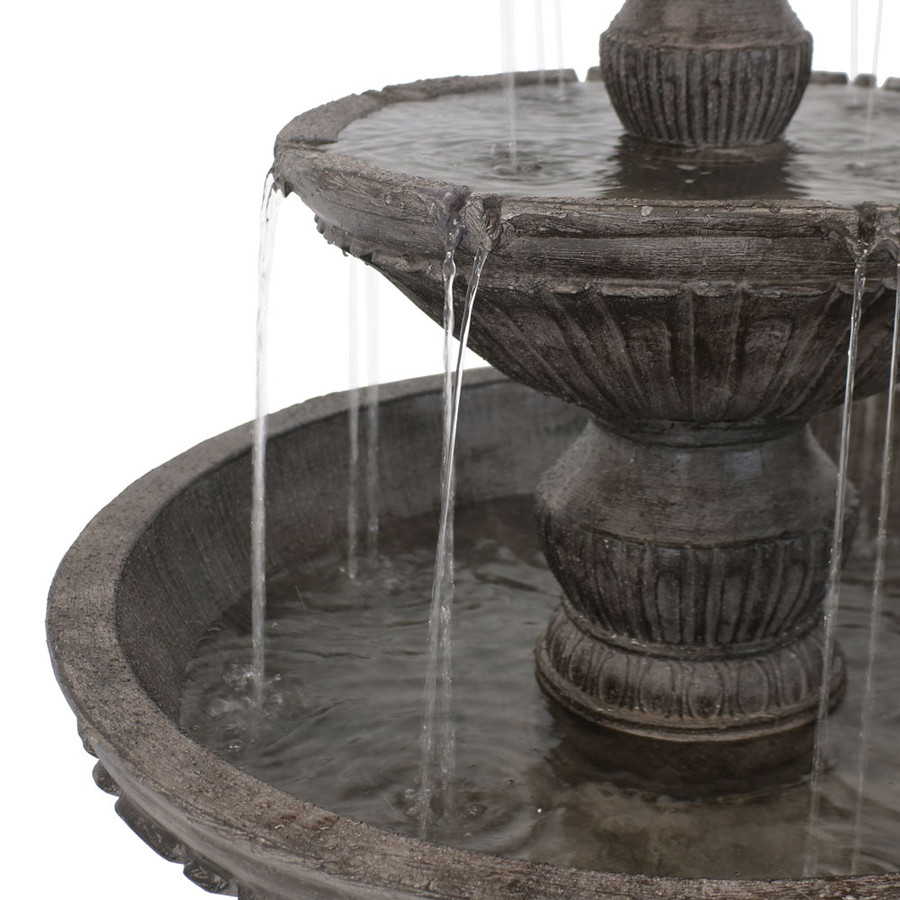Closeup of Tiers of Classic 3 Tier Designer Outdoor Water Fountain
