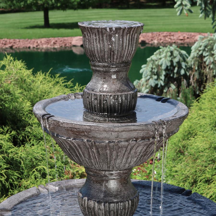 Closeup of Top of Classic 3 Tier Designer Outdoor Water Fountain