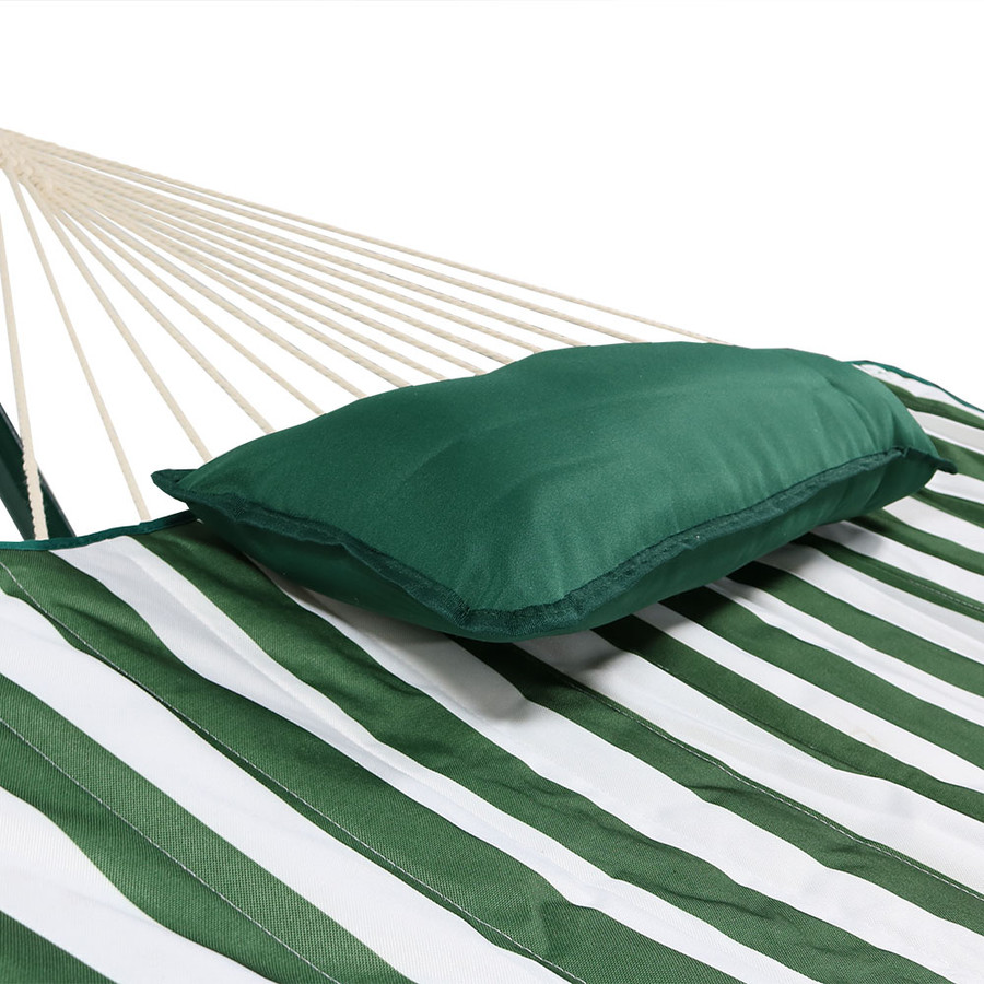 Green/White Stripe Rope Hammock and Stand Combo Closeup