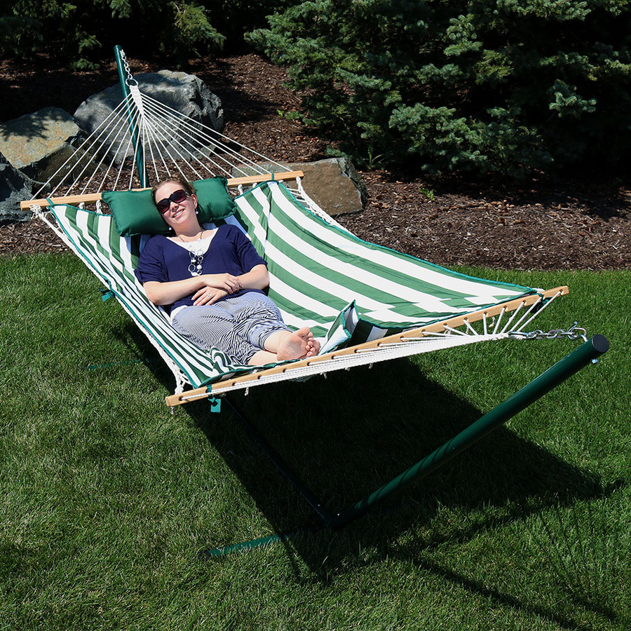 Green/White Stripe Rope Hammock and Stand Combo Outdoors