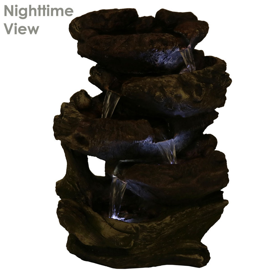 5-Step Rock Falls Tabletop Fountain with LED Lights, Nighttime