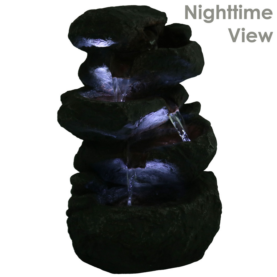 Stacked Rocks Tabletop Water Fountain w/LED Lights, Nighttime