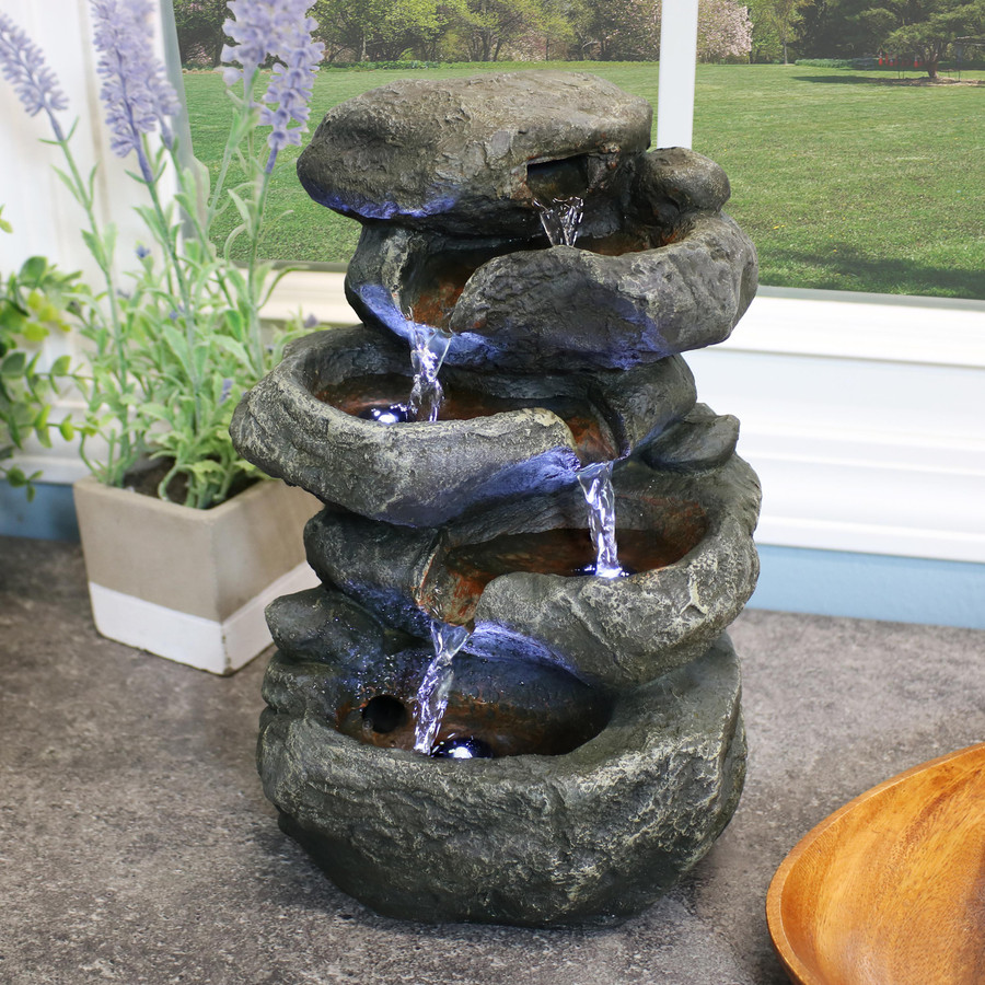 Stacked Rocks Tabletop Water Fountain w/LED Lights