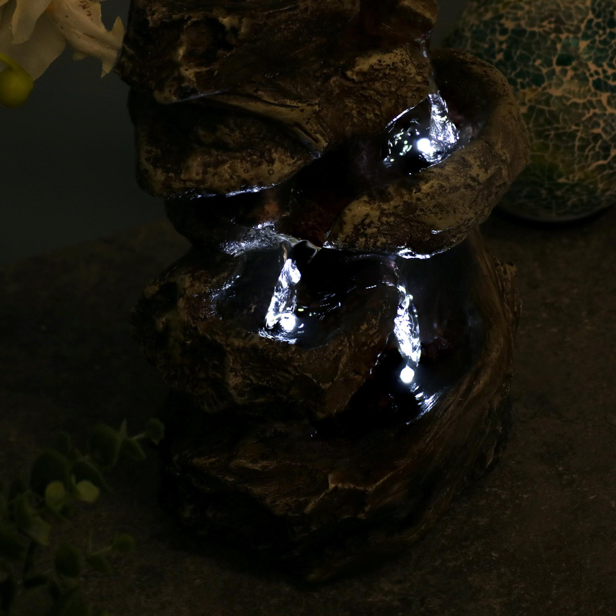 Tiered Rock and Log Tabletop Fountain w/ LED Lights by Sunnydaze