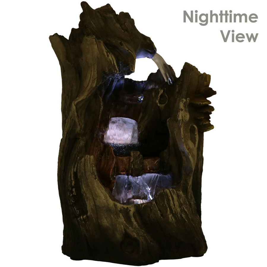 Cascading Caves Waterfall Tabletop Fountain with LED Lights, Nighttime