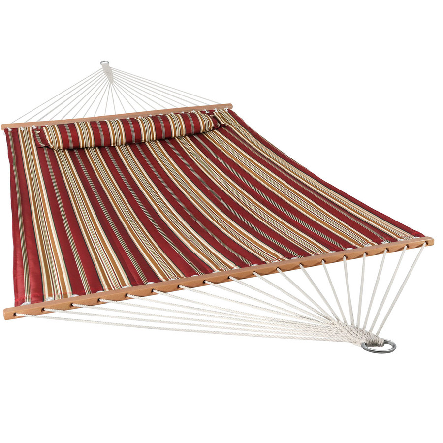 Sunnydaze 2 Person Quilted Fabric Hammock with Spreader Bars, Red Stripe
