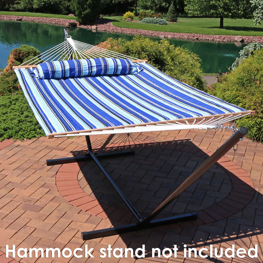 Sunnydaze 2 Person Quilted Fabric Hammock with Spreader Bars, Catalina Beach