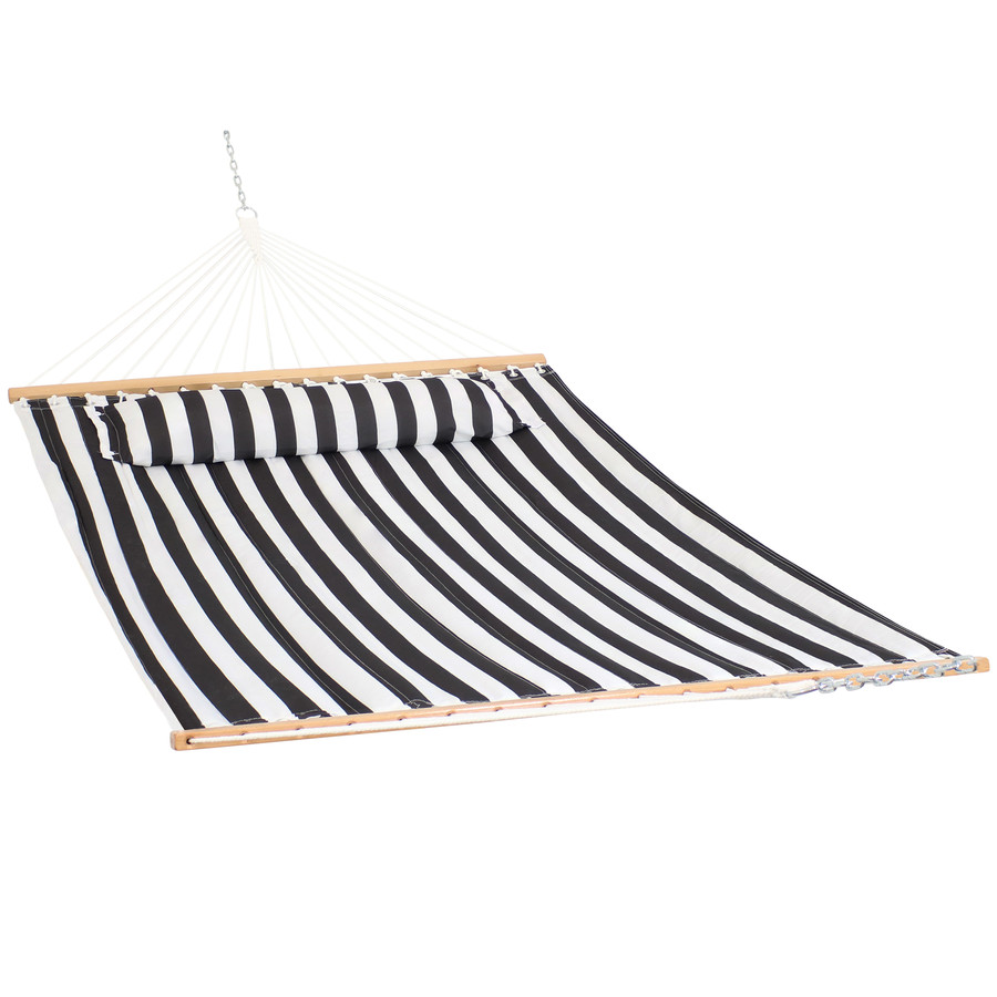 Sunnydaze 2 Person Quilted Fabric Hammock with Spreader Bars and Pillow - Black and White