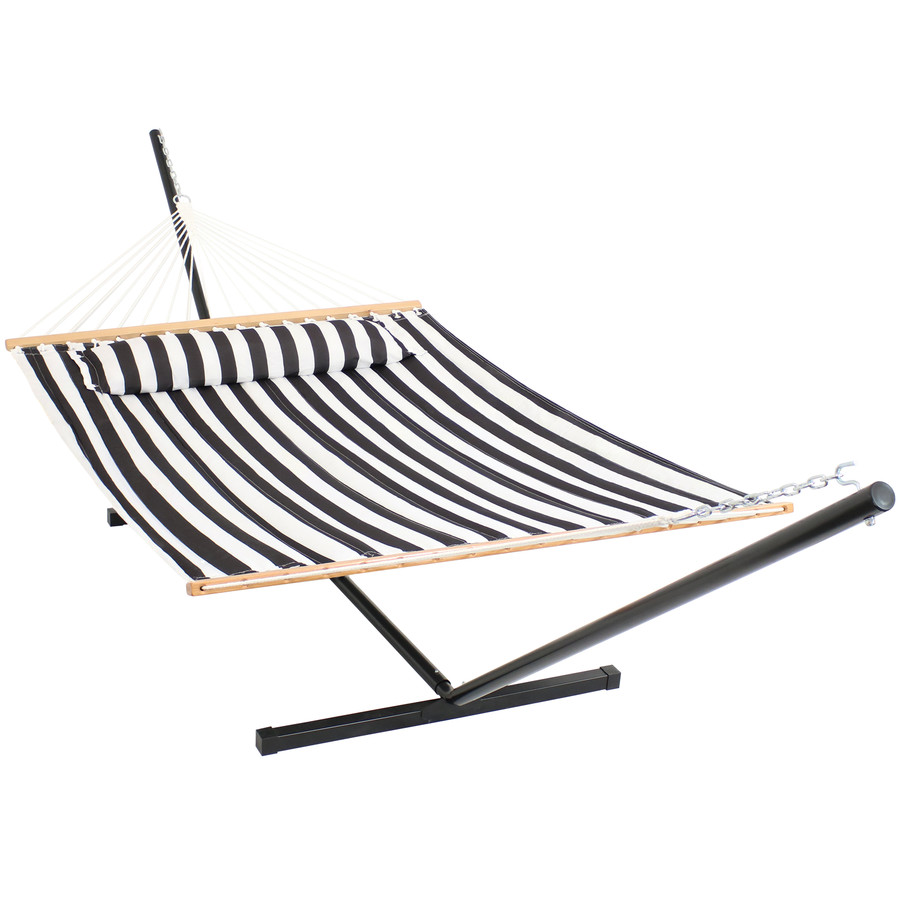 Sunnydaze 2 Person Freestanding Quilted Fabric Spreader Bar Hammock with Pillow