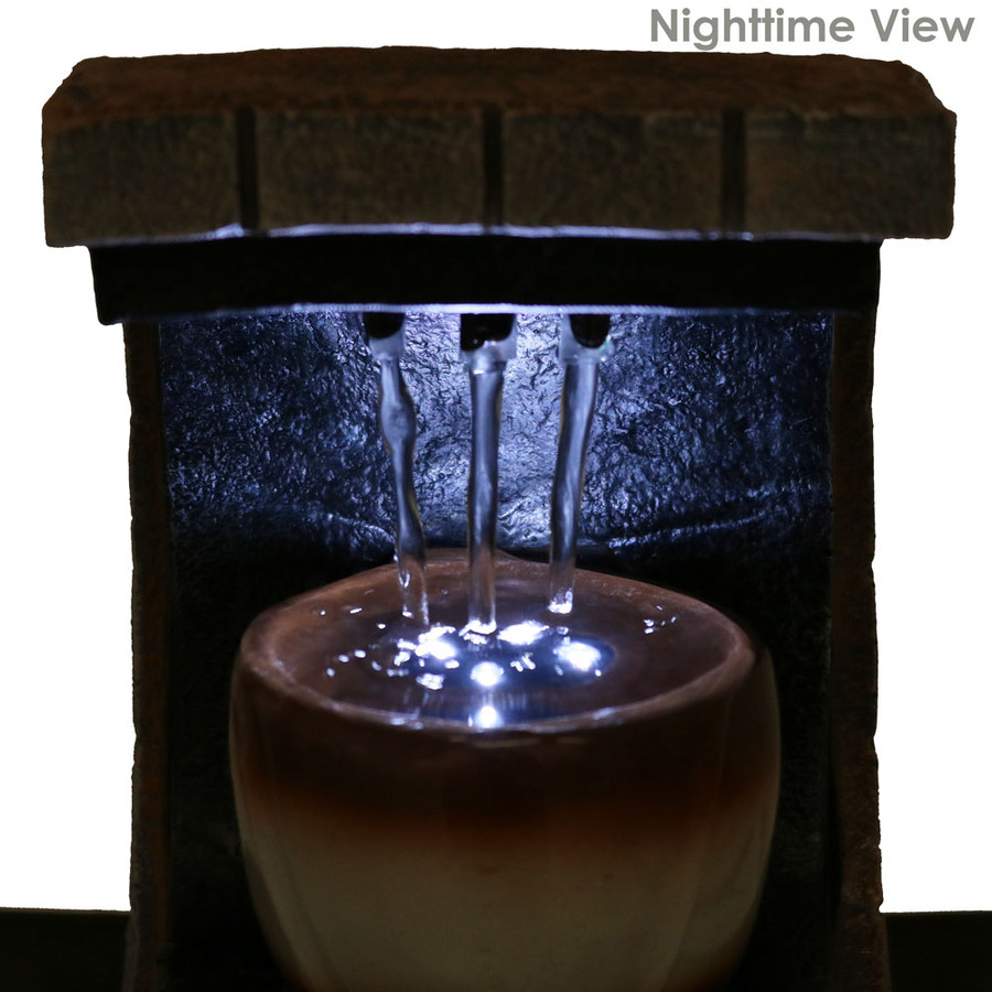 Meditation Tabletop Water Fountain w/ LED Lights by Sunnydaze Decor