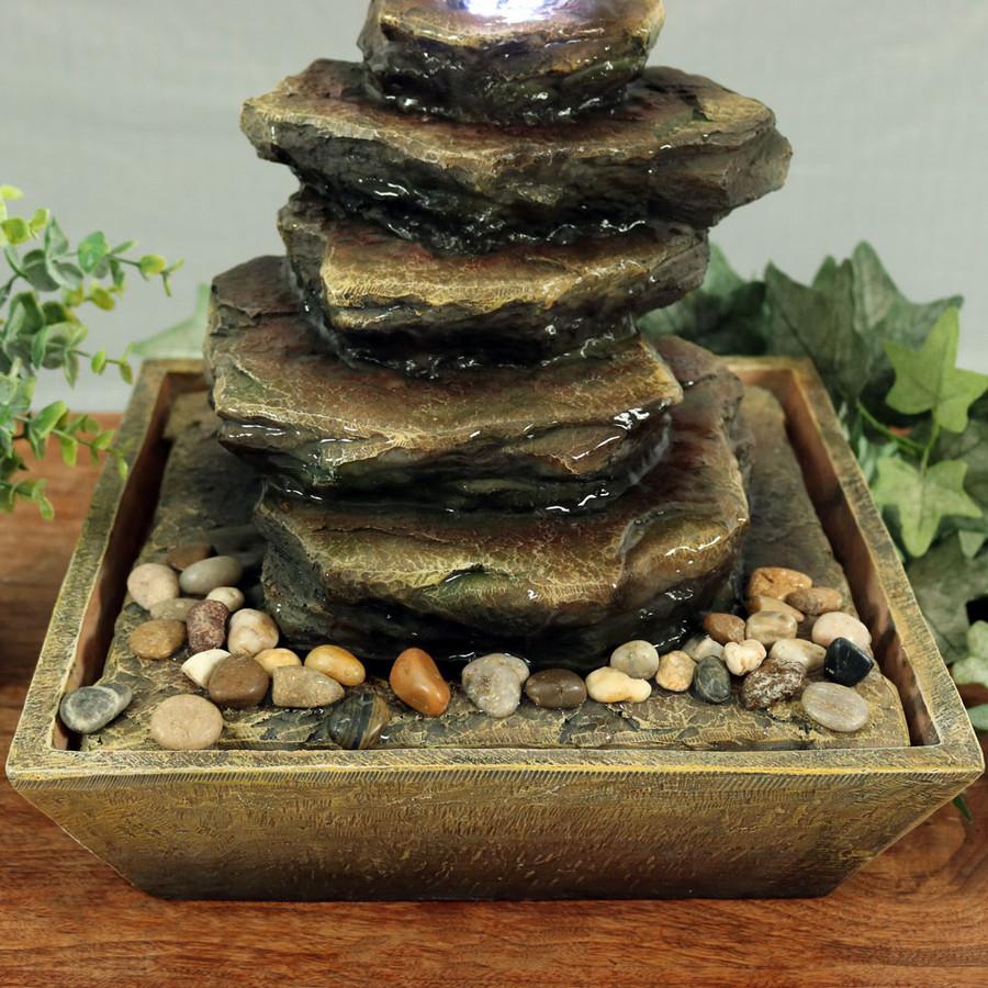 Sunnydaze Cascading Rocks Tabletop Fountain with LED Lights, 12 Inch Tall