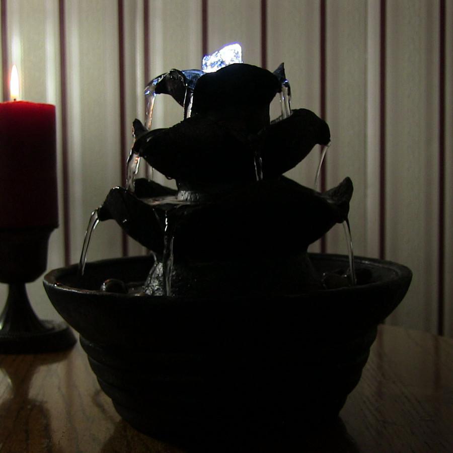Black Three Tier Cascading Tabletop Fountain, Nighttime