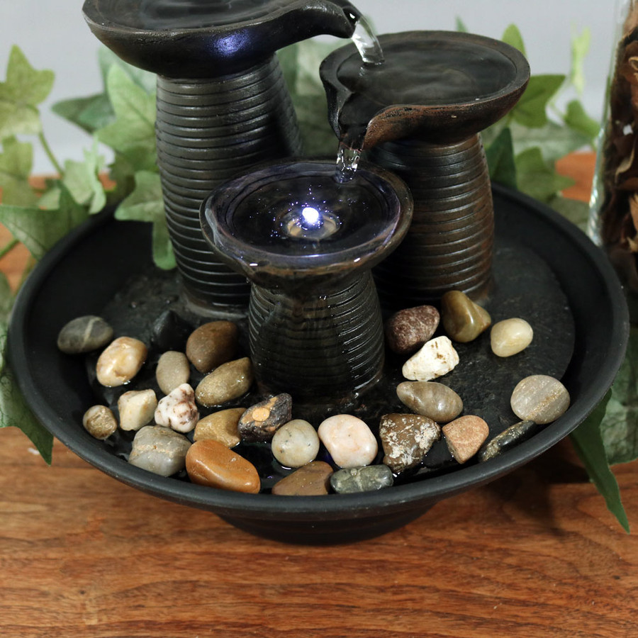 Three Pillars Pouring Table Fountain w/ LED Light by Sunnydaze Decor