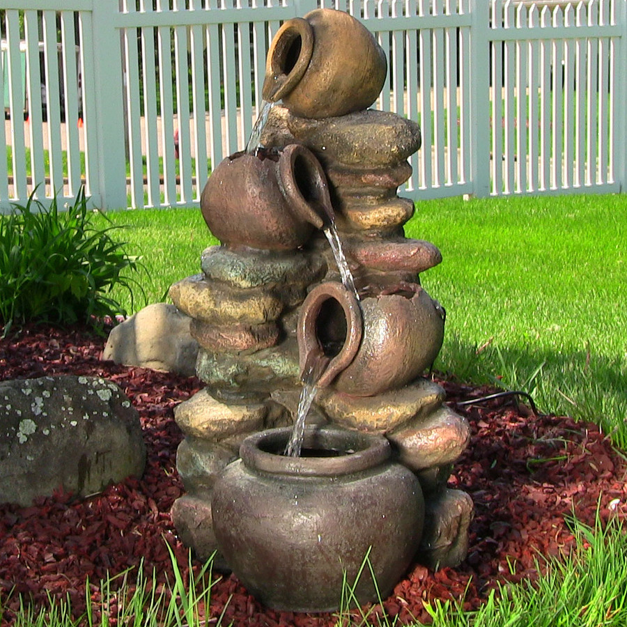 Sunnydaze Honey Pot with Stones Electric Outdoor Water Fountain with LED Lights, 25 Inch Tall