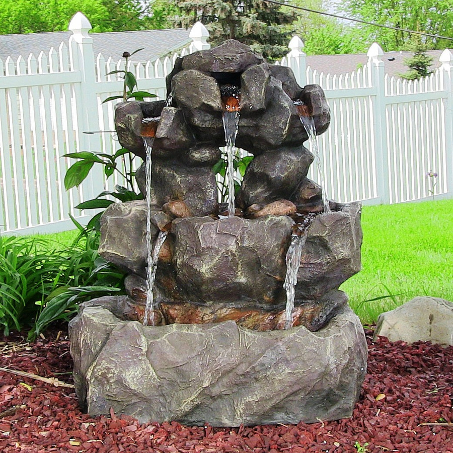 Sunnydaze Layered Rock Waterfall Outdoor Fountain with LED Lights, 32 Inch Tall