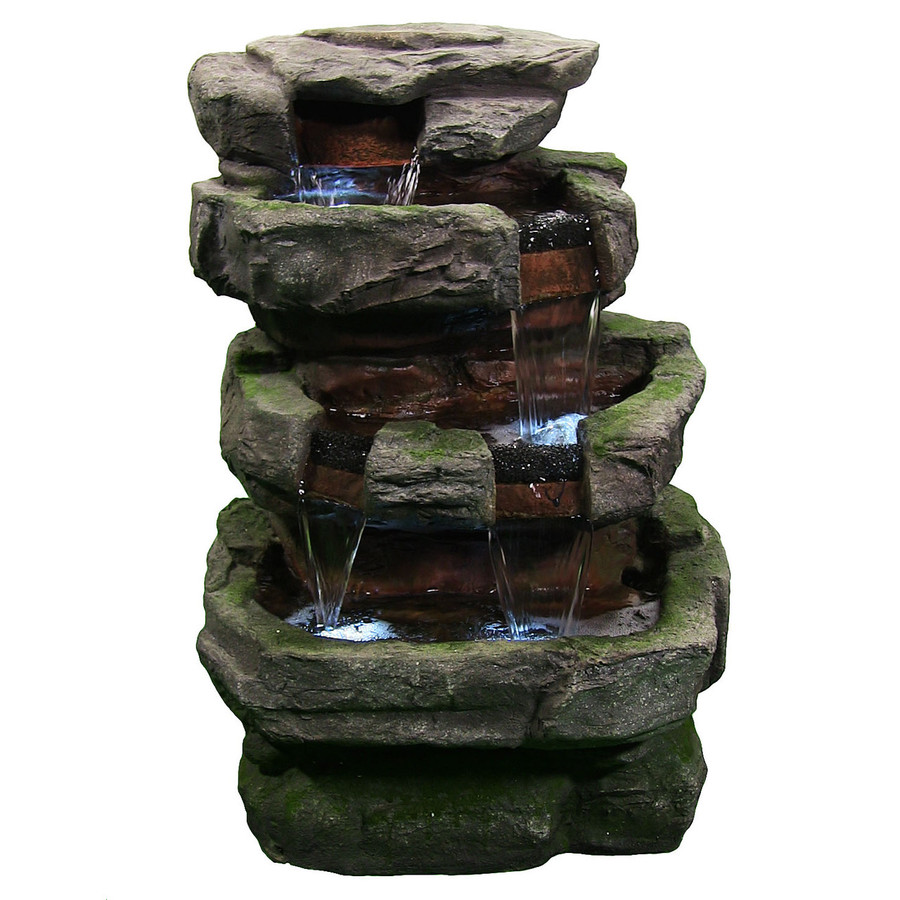 Outdoor Electric Large Rock Quarry Waterfall Fountain with LED Lights