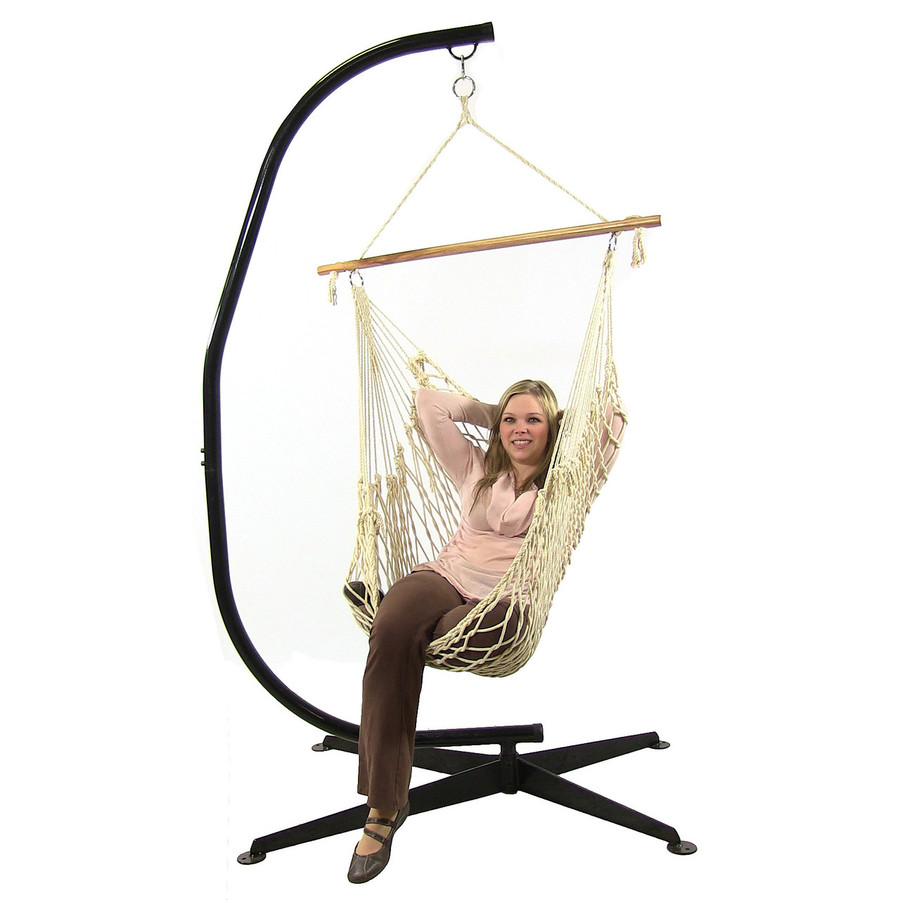 Sunnydaze Cotton Rope Hanging Hammock Chair Swing with C-Stand, 48 Inch Wide Seat, Max Weight: 300 Pounds
