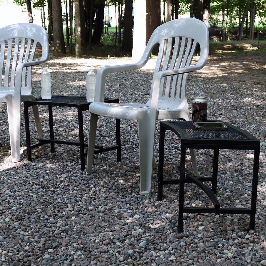 Black Mesh Patio Side Table, Set of 2