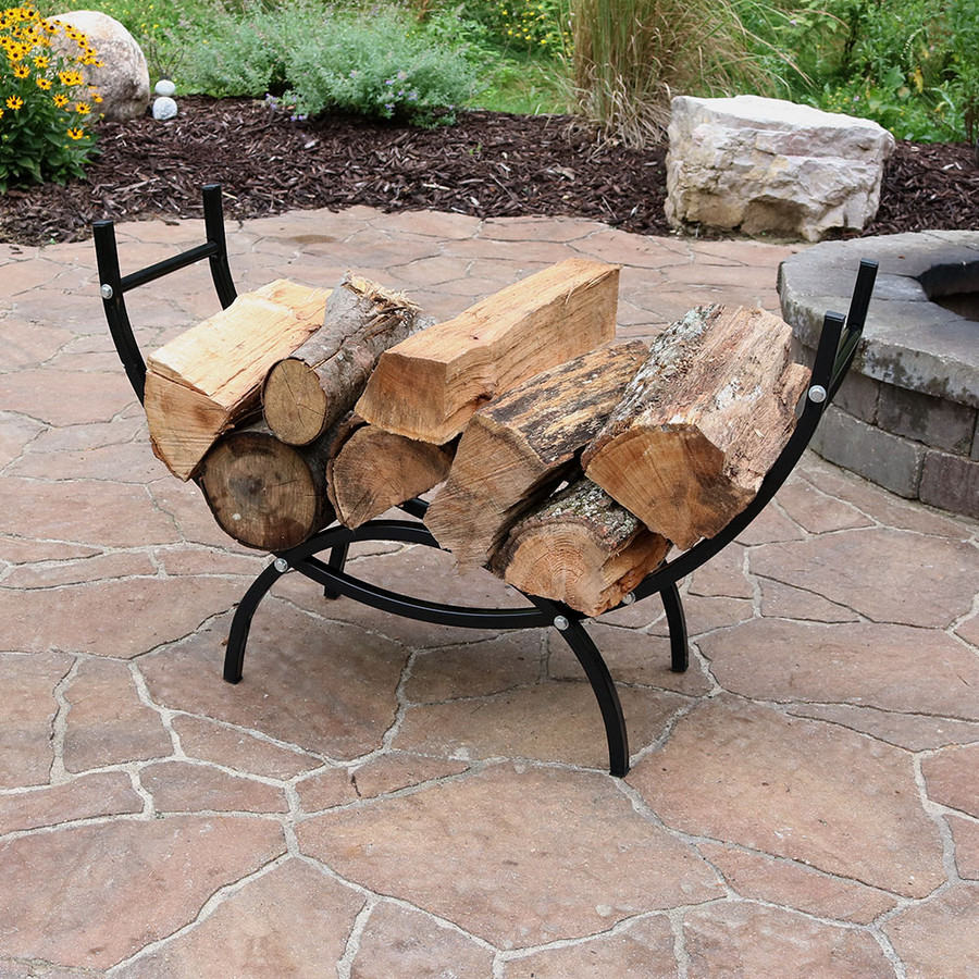 Sunnydaze Indoor/Outdoor Curved Firewood Log Rack