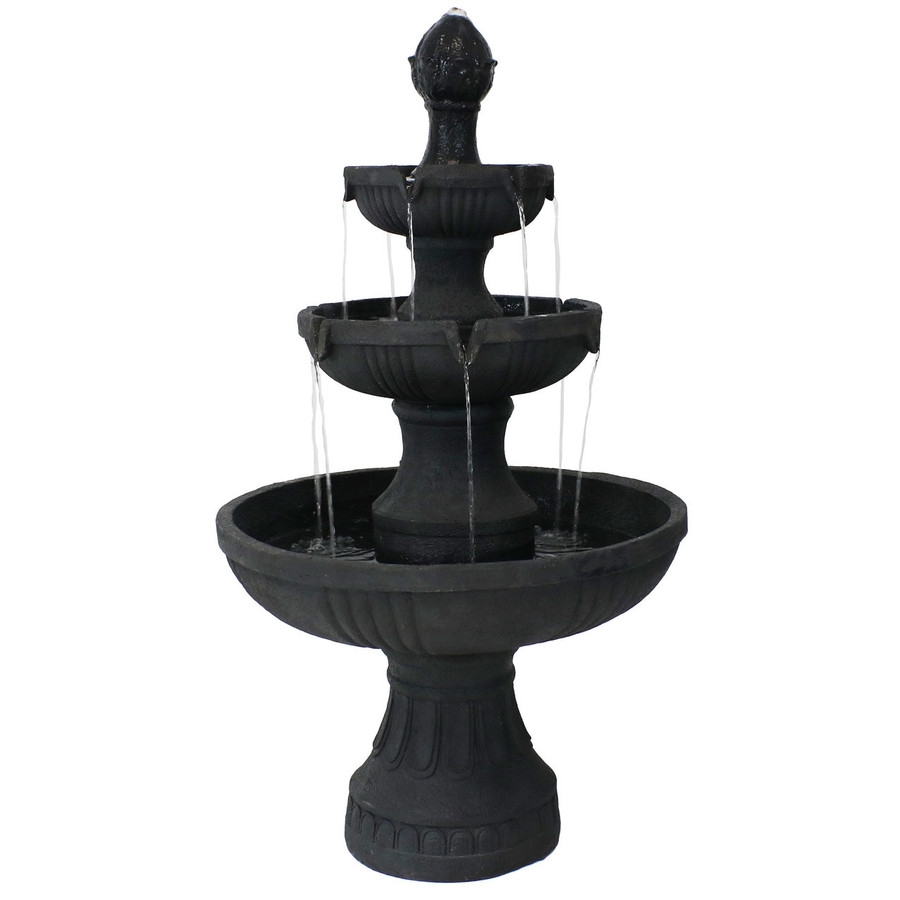 Sunnydaze Black Flower Blossom 3-Tier Water Fountain
