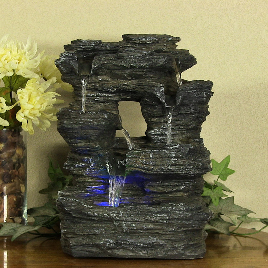 Five Stream Rock Cavern Tabletop Fountain