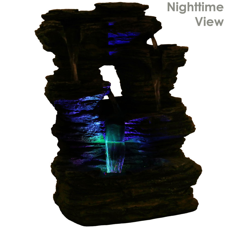 Five Stream Rock Cavern Tabletop Fountain , Nighttime