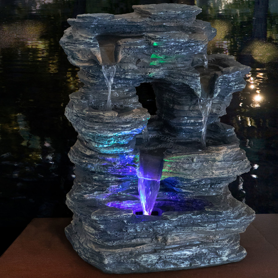 Five Stream Rock Cavern Tabletop Fountain, Nighttime