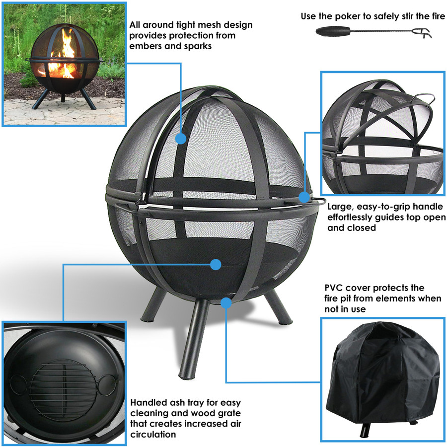 Sunnydaze Black 30 Inch Sphere Flaming Ball Fire Pit with Protective Cover