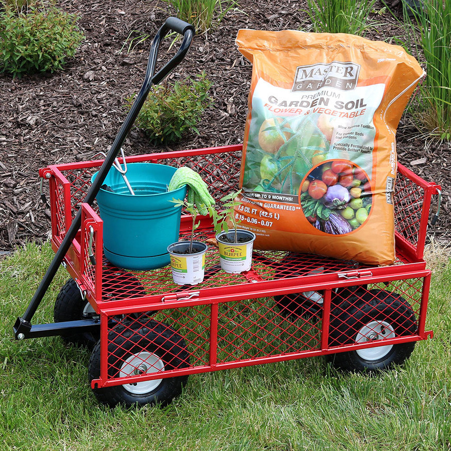 Red Garden Cart Side Down