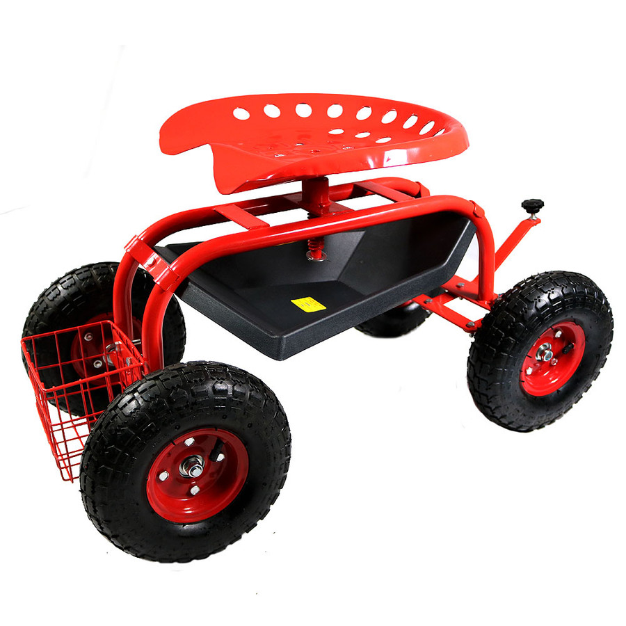 Sunnydaze Rolling Garden Cart with Work Seat, Basket, and Tray
