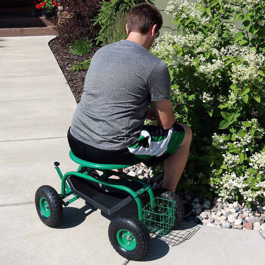 Green Rolling Garden Cart with Work Seat, Basket, and Tray