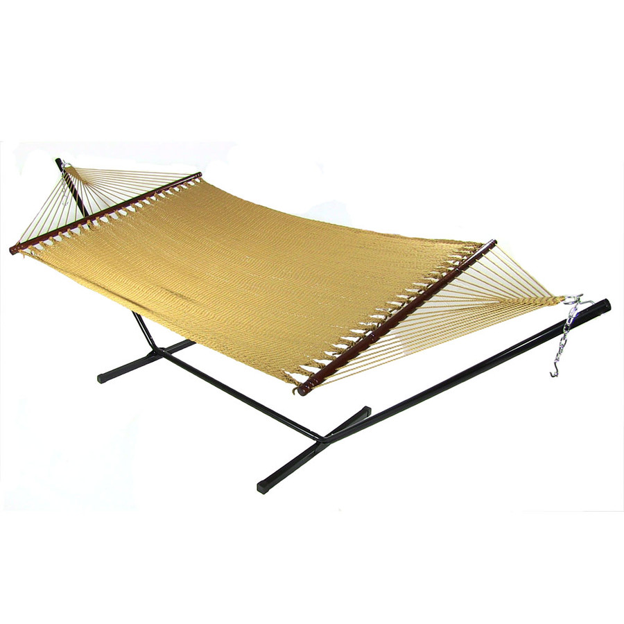 Sunnydaze Large 2 Person Soft-Spun Polyester Spreader Bar Rope Hammock with Stand, 400 Pound Capacity