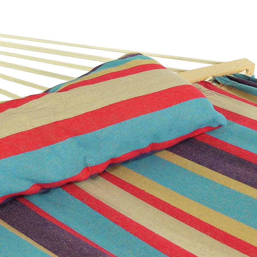 Sunnydaze Cotton Fabric Spreader Bar Hammock and Detachable Pillow, Wildberry, 300 Pound Capacity