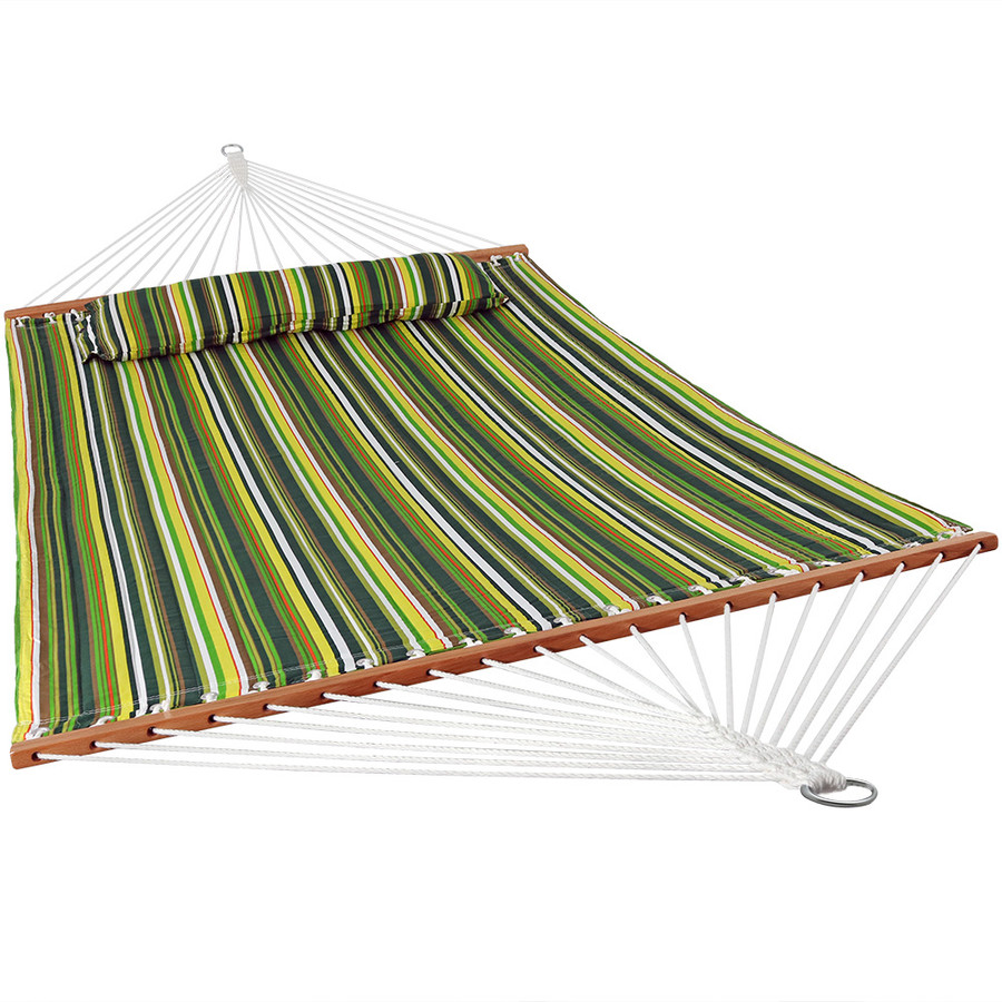 Sunnydaze 2 Person Quilted Fabric Hammock with Spreader Bars, Melon Stripe