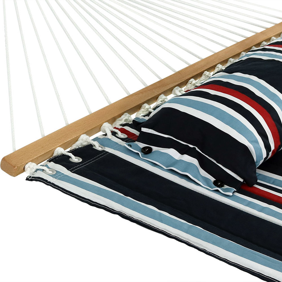 Sunnydaze 2 Person Quilted Fabric Hammock with Spreader Bars, Nautical Stripe