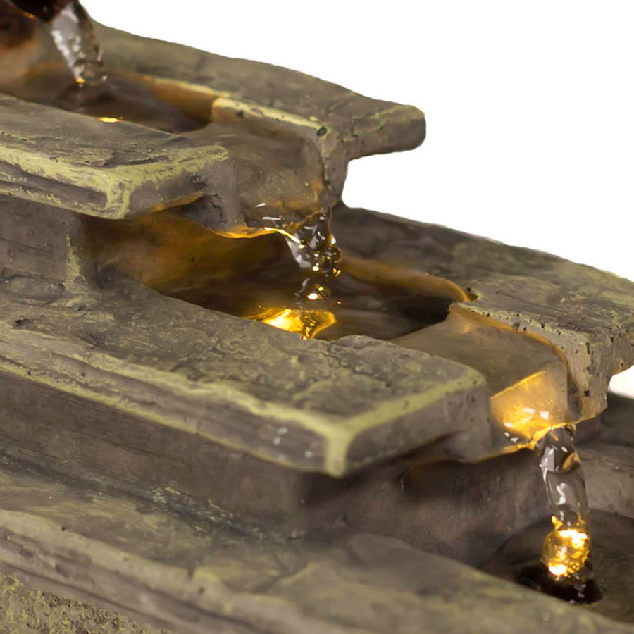 Sunnydaze Cascading Tri-Step Tabletop Fountain with LED Light