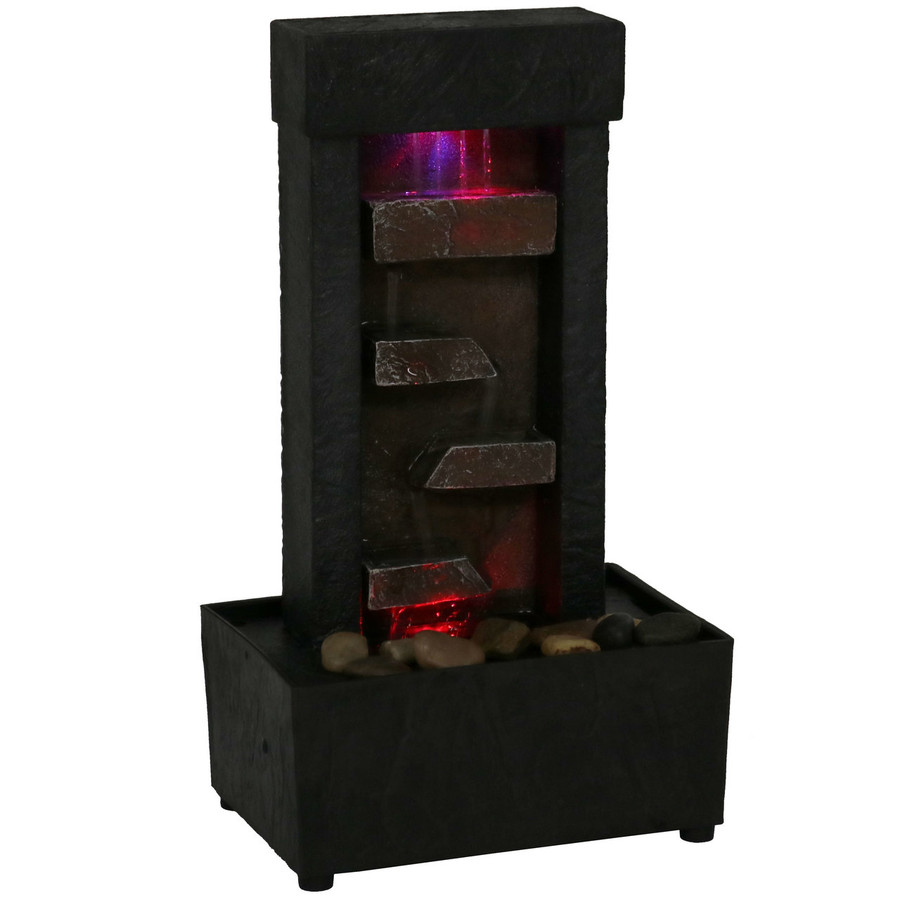 Tiered Shelves Lighted Tabletop Fountain, Nighttime View