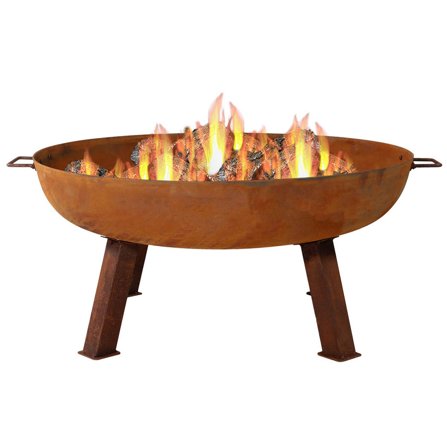 "34"" Cast Iron Fire Pit Bowl with Fire"
