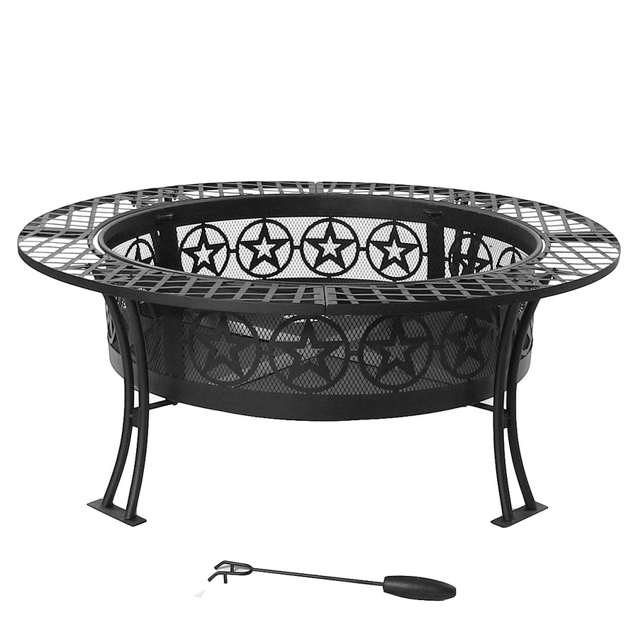 Sunnydaze 40 Inch Four Star Large Fire Pit Table with Spark Screen