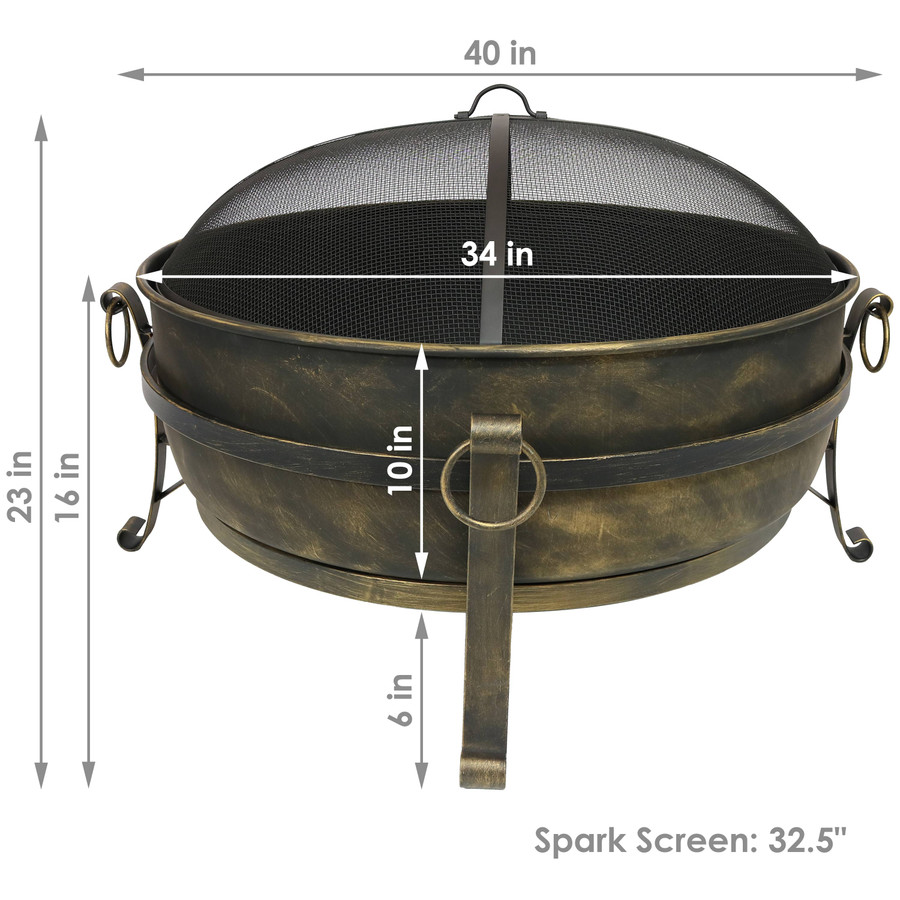 "Dimensions of 34"" Cauldron"