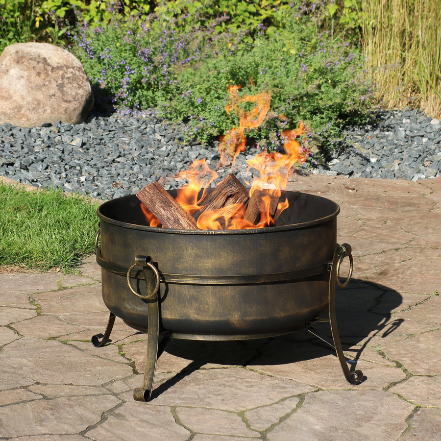"24"" Steel Cauldron Fire Pit, Cover Off"