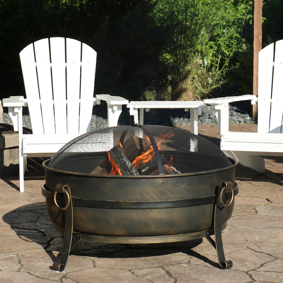 "34"" Steel Cauldron Fire Pit"