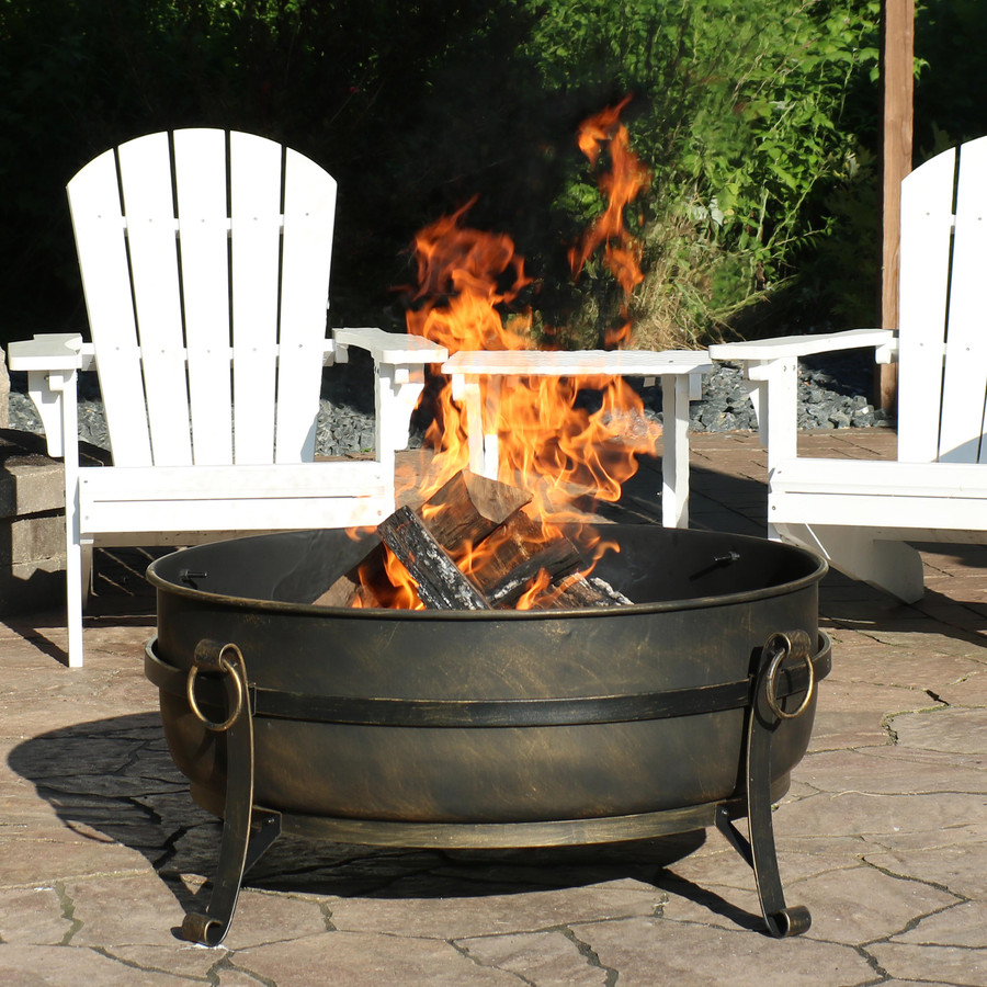"34"" Steel Cauldron Fire Pit, Cover Off"