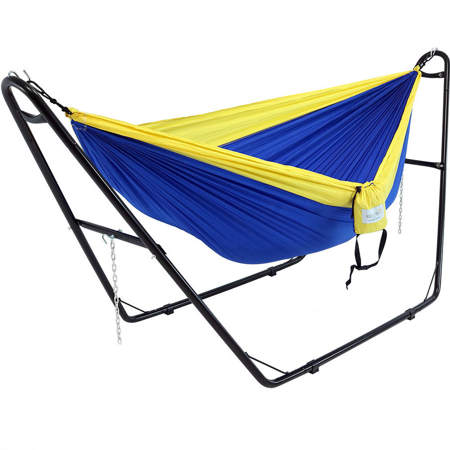 Black stand shown with a Camping Hammock. Hammock not included.